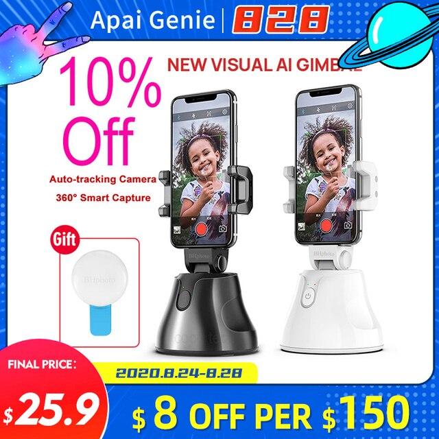 Apai Genie akıllı telefon Selfie çekim Gimbal 360 otomatik izleme telefon tutucu kamera için Selfie sopa Vlog kayıt Youtube canlı