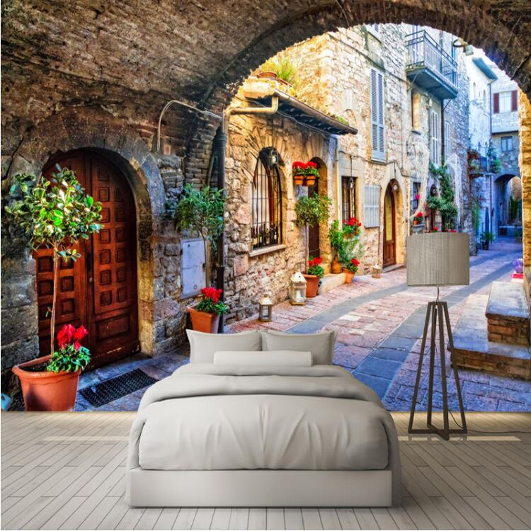 Canvas Wallpaper Custom Photo Wall Paper Mural 3D Italian Town Street View European Landscape Wall Covering Papel De Parede