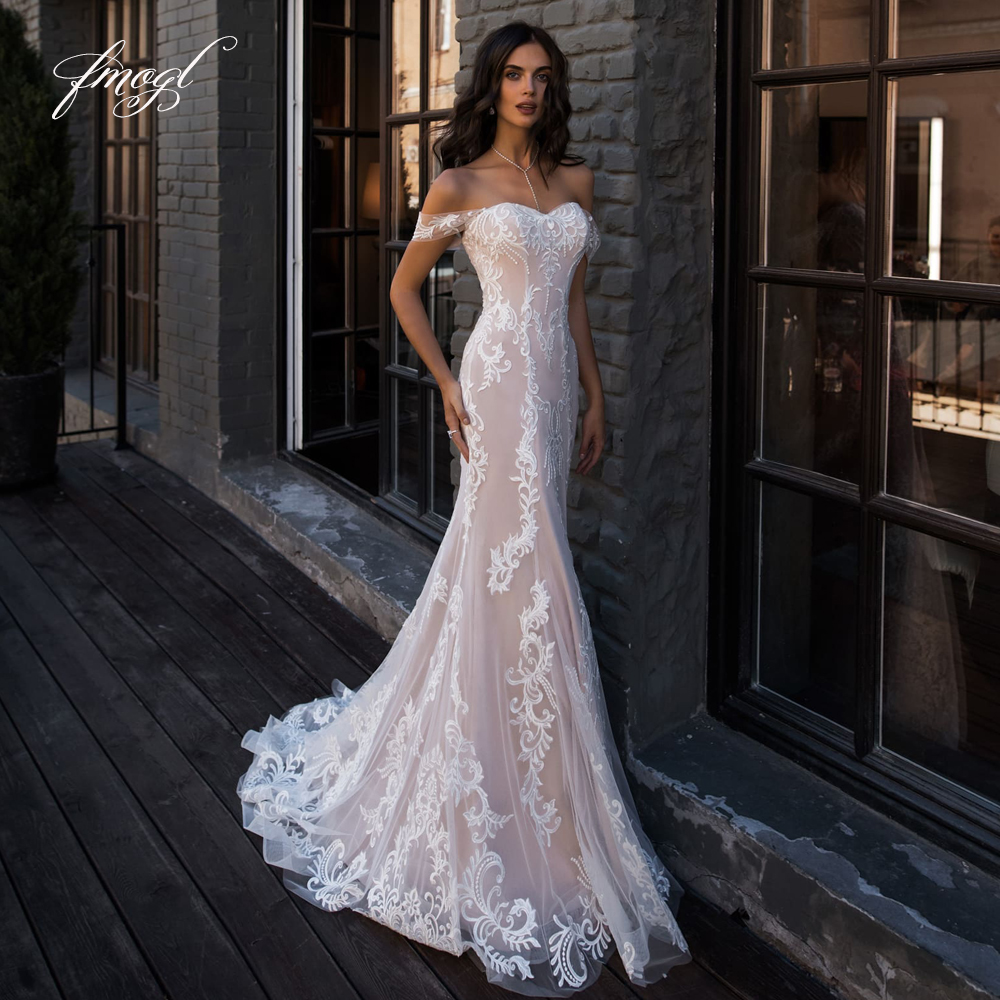 Fmogl Sexy Backless Sweetheart Lace Mermaid Wedding Dresses 20 Elegant  Appliques Sweep Train Vintage Trumpet Bridal Gowns