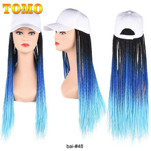 TOMO Long Baseball Cap Braids Wigs Ombre Color Synthetic Box Braided Hair Hat Wig Adjustable For Girl High Temperature Fiber 24