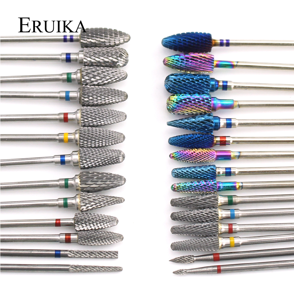28 Types Tungsten Blue Rainbow Carbide Nail Drill Bit Electric Nail Mills Cutter For Manicure Machine Nail Files Accessories