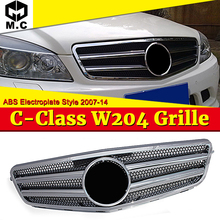 W204 grille grill Two fin ABS Electroplate C63 Look without Sign For MercedesMB C class C180 C200 C250 C300 C350 grills 2007-14