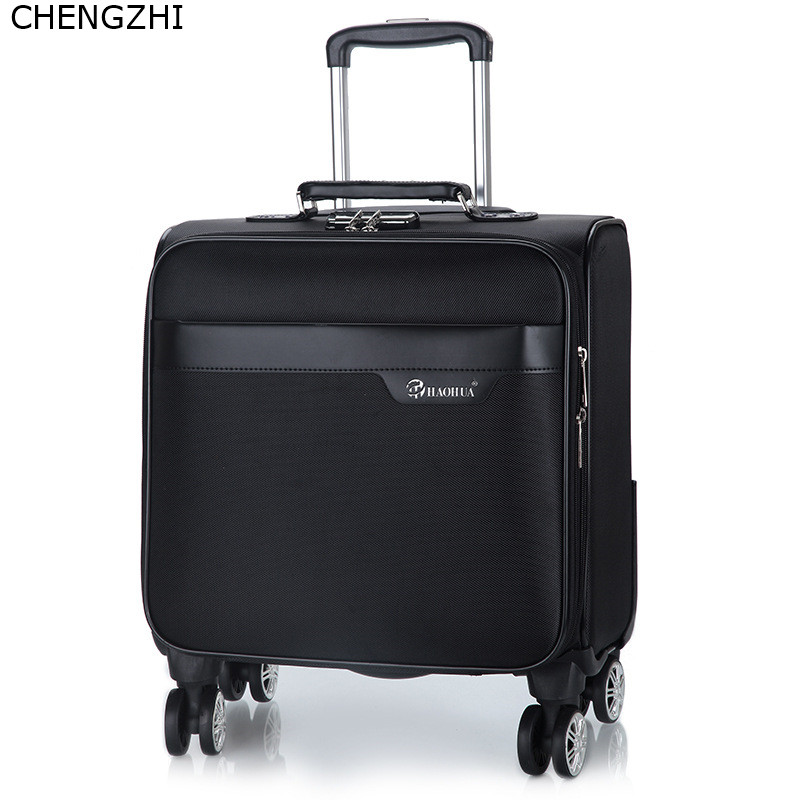 CHENGZHI New PU Leather 18inch Rolling Luggage Spinner Brand Suitcase Women Travel Bag Men Business Trolley Suitcase On Wheels