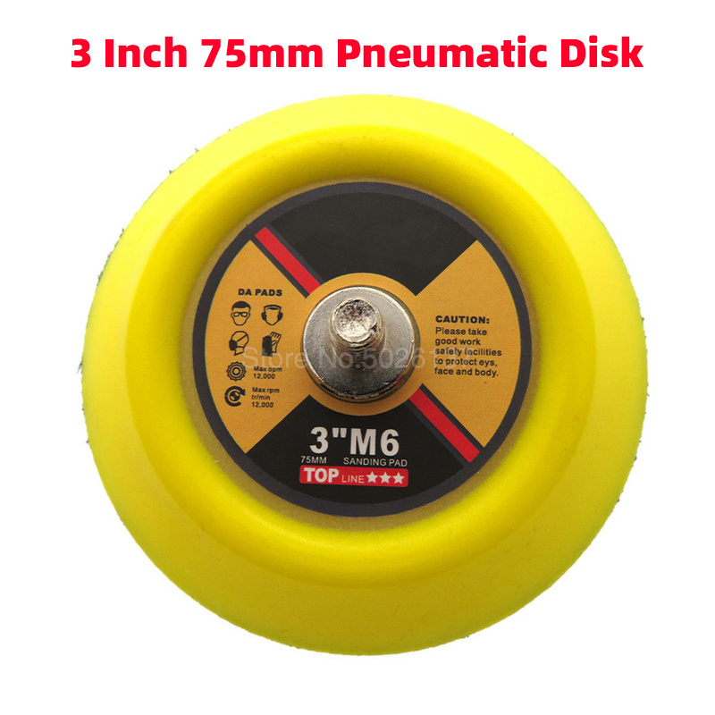 1Pcs 3-Inch 75MM Pneumatic Tray Air Polisher Sander Machine Grinder Tools Wood Polish Disc Backing Plate Woodworking Sanding Pad