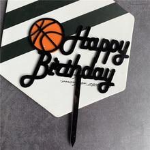Ins Nieuwe Basketbal Acryl Cake Topper Creatieve Gelukkige Verjaardag Cake Topper Voor Kids Jongens Verjaardag Sport Party Cake Decorations