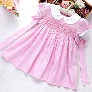 Image 2 - קיץ שמלות רקומות בנות שמלת בישוף בעבודת יד רקמת נסיכת חתונה ורוד בוטיקים בגדי ילדים L191127558