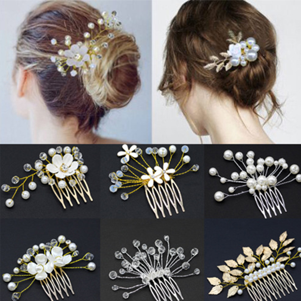 Bride Wedding Handmade Tiara Pearl Flower Hair Comb Inserting Hairpins  Wedding Bridesmaid Headdress Disk Hair Comb