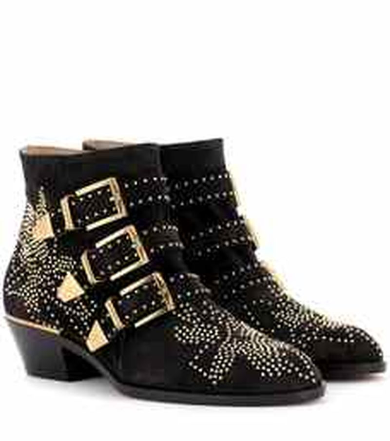 Womens Pointed Toe Rivet Studs Genuine Leather Belt Buckle Ankle Boots Chelsea Western Shoes Chunky Heel 12Colors C409