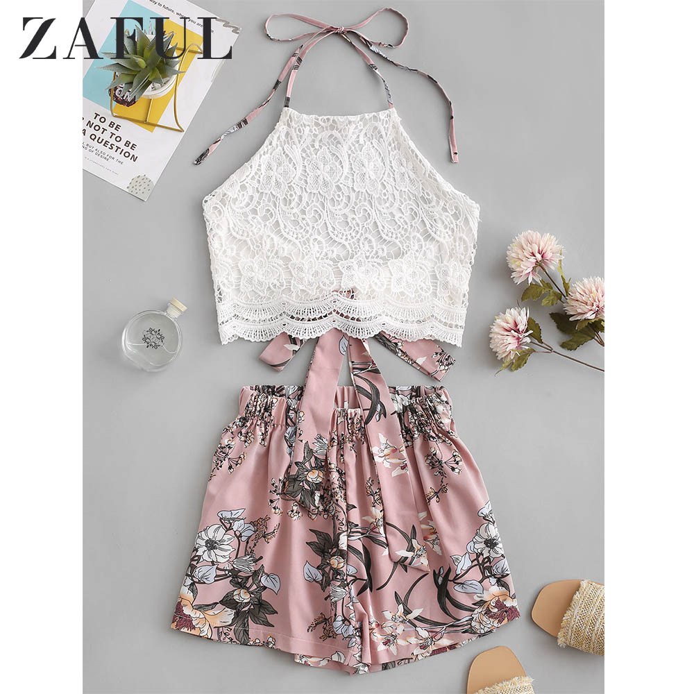 ZAFUL Lace Panel Floral Halter Two Pieces Suit Chic High Waist Sleeveless Women's Sets Vintage Pullover Crop Top And Shorts 2019