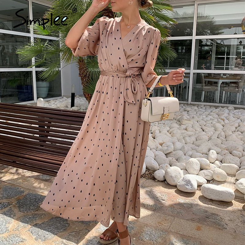 Simplee Polka Dot Women Wrap Dress Elegant Puff Sleeve A Line V Neck Sash Party Dress Wrap Work Wear Streetwear Retro Maxi Dress