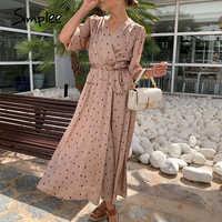 Simplee Polka dot women wrap dress Elegant puff sleeve a line v neck sash party dress Wrap work wear streetwear retro maxi dress
