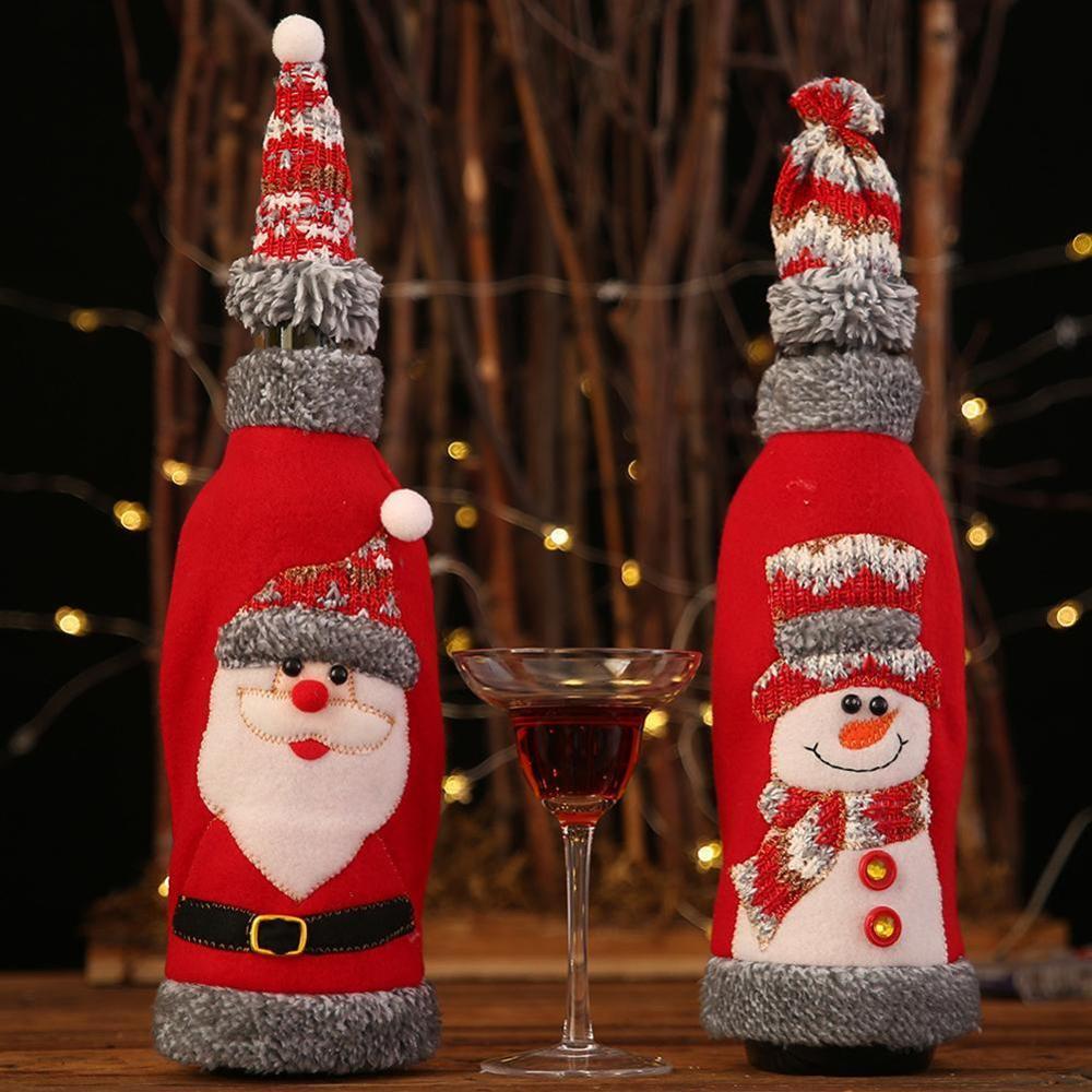 Christmas Wine Bottle Decor Set Santa Claus Snowman Bottle Cover Clothes Kitchen Decoration For New Year Xmas Dinner