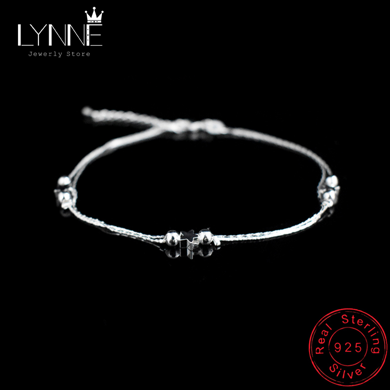 New Fashion Sexy Beach Star Anklets 925 Sterling Silver Simple Double Layer Stars&Small Bead Anklet Bracelets Women Jewelry Gift