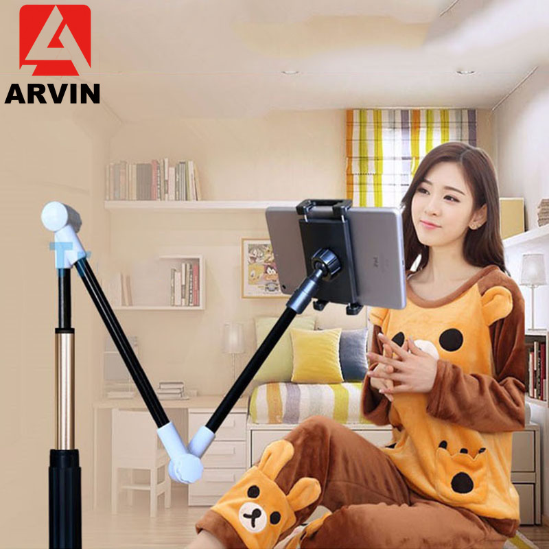 Arvin Folding Long Arm Tablet Holder Stand For IPad 4-14 Inch 360 Rotation Strong Lazy Bed Tablet Mount Bracket For IPhone X XS