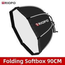 TRIOPO KS90 90cm Faltbare Octagon Softbox Halterung Montieren Weiche box Griff für Canon Nikon Godox Yongnuo Speedlite blitzlicht
