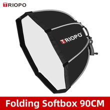 TRIOPO KS90 90cm katlanabilir sekizgen Softbox braketi dağı yumuşak kutu kolu Canon Nikon Godox Yongnuo Speedlite flaş işığı