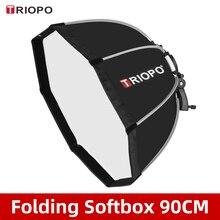 Triopo KS90 90 Cm Gấp Gọn Bát Giác Softbox Chân Đế Gắn Hộp Mềm Tay Cầm Cho Canon Nikon Godox Yongnuo Speedlite Sáng