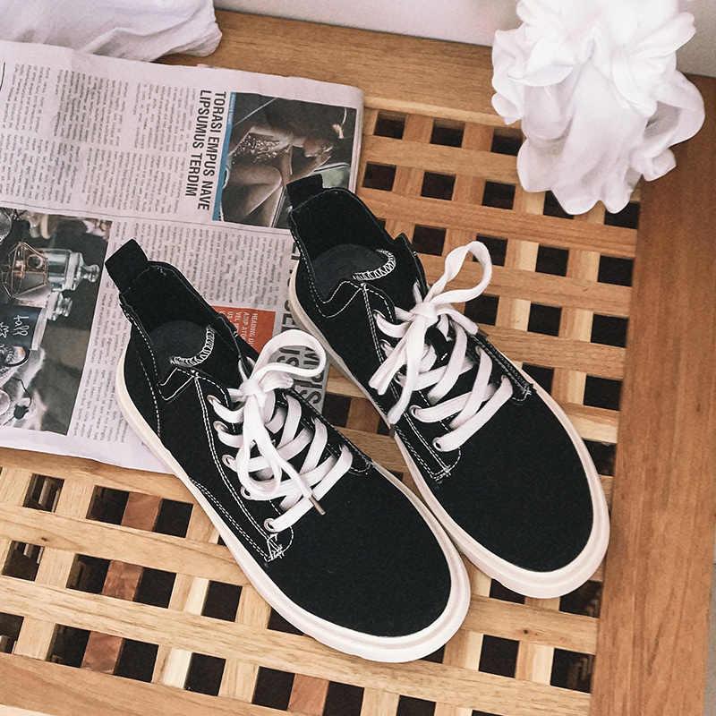 2019 yeni sonbahar katı kanvas botlar moda yüksek top kalın alt ayakkabı kadın tenis feminino rahat rahat kadın ayakkabı