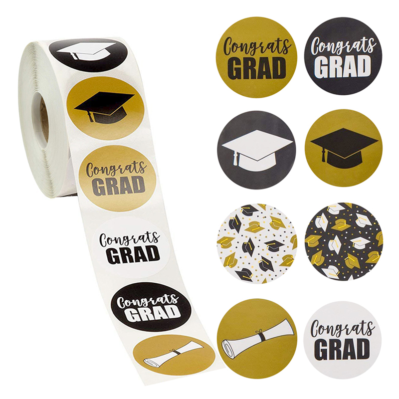 500pcs/roll Graduation Stickers For Featuring Graduation Caps And Diplomas Seal Labels Party Favors Student Stationery Sticker