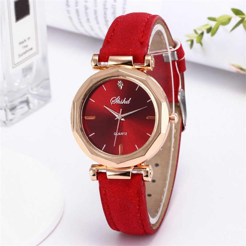ผู้หญิงคลาสสิกควอตซ์นาฬิกาข้อมือ Rhombus หัว Frosted PU นาฬิกาหนัง H9