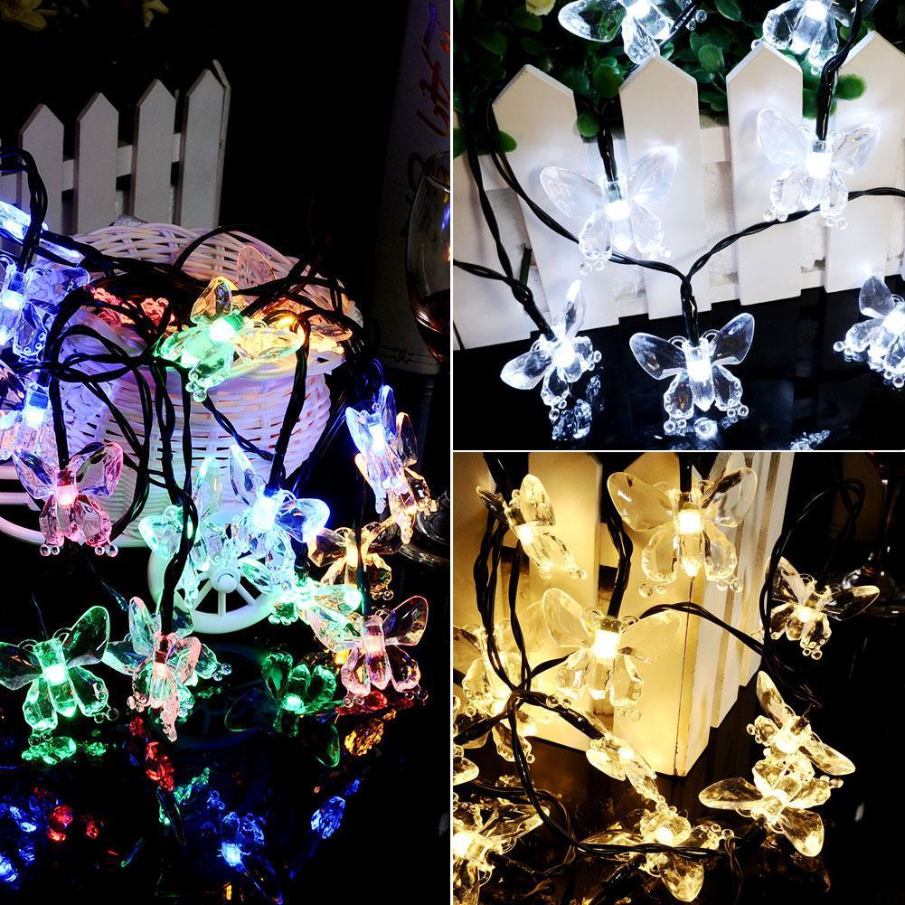 Solar Powered 20 LED Romantic Butterfly Xmas Party Decor String Fairy Light