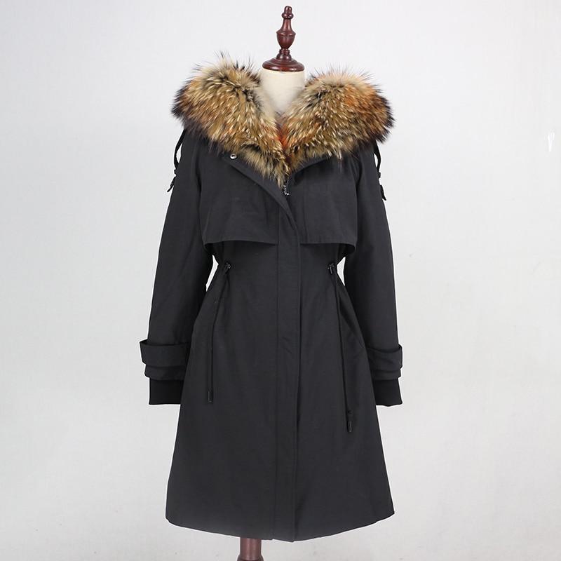 Image 3 - OFTBUY Waterproof Parka 2019 Real Fur Coat Winter Jacket Women Natural Raccoon Fur Collar Real Rex Rabbit Fur Liner Detachable-in Real Fur from Women's Clothing