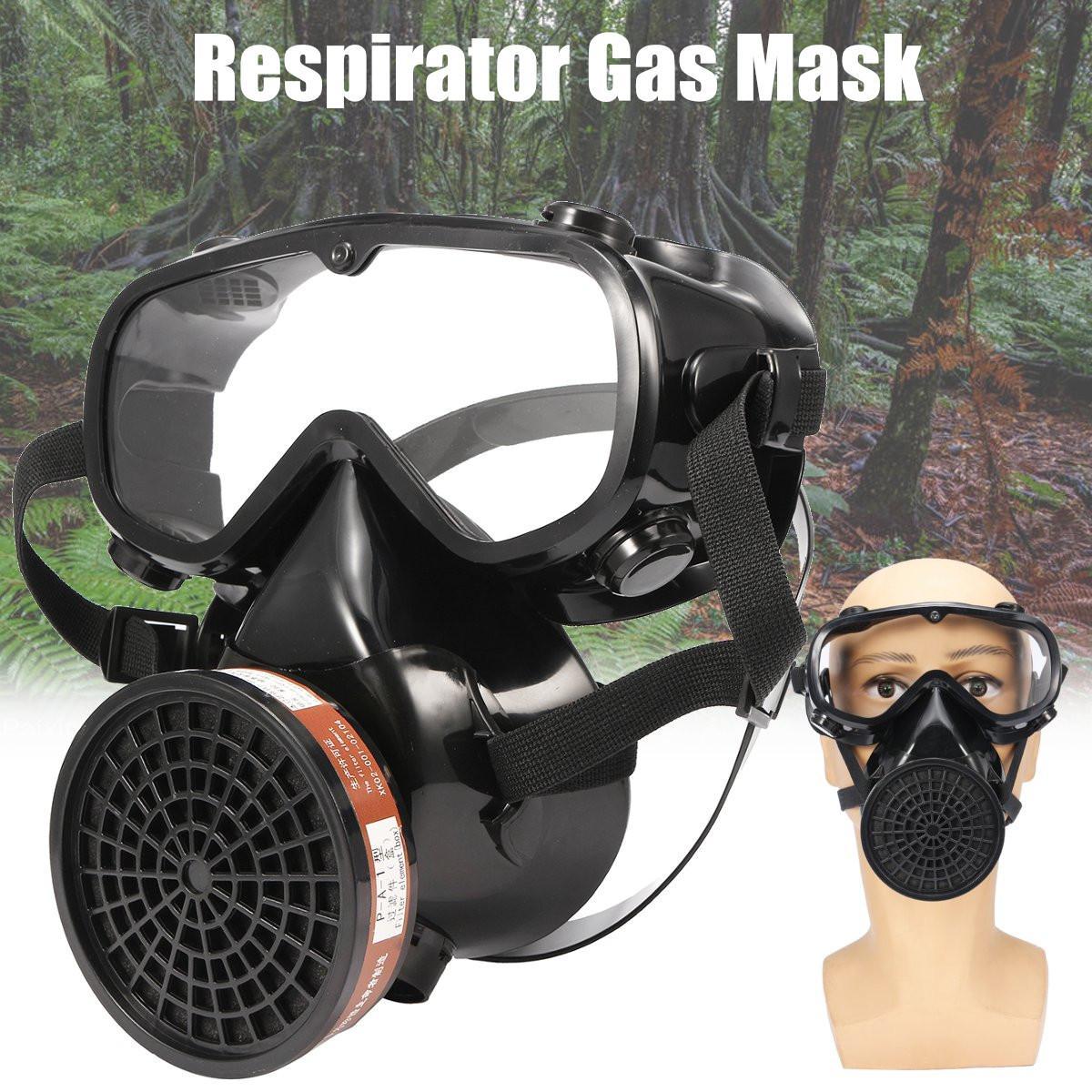Güvenlik ve Koruma'ten Maskeler'de Ayarlanabilir Solunum Gaz Maskesi Güvenlik kimyasal respiratörü Toz Pus Koruyucu Maske Filtresi Işyeri Askeri Gözlük Yüz Maskesi title=