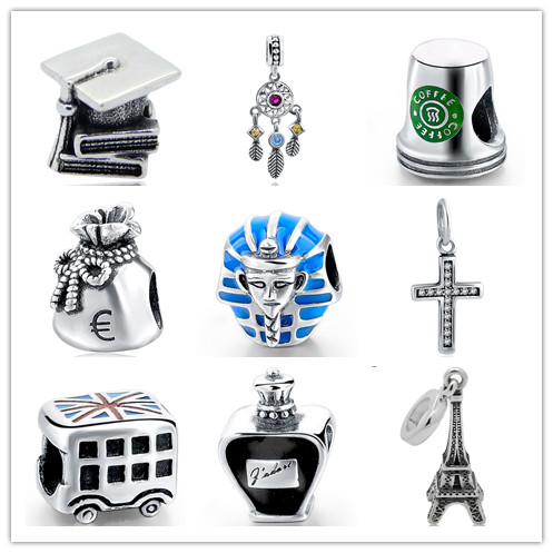 Authentic Pandora Bracelet Charms Silver 925 Original Eiffel Tower Coffee Cup Beads Pendant Jewelry Gifts Limited