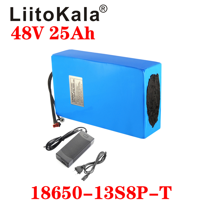 LiitoKala 48V25ah 48V pil lityum pil paketi 48V 25AH 1000W elektrikli bisiklet pil dahili 50A BMS + 54.6V 2A şarj cihazı