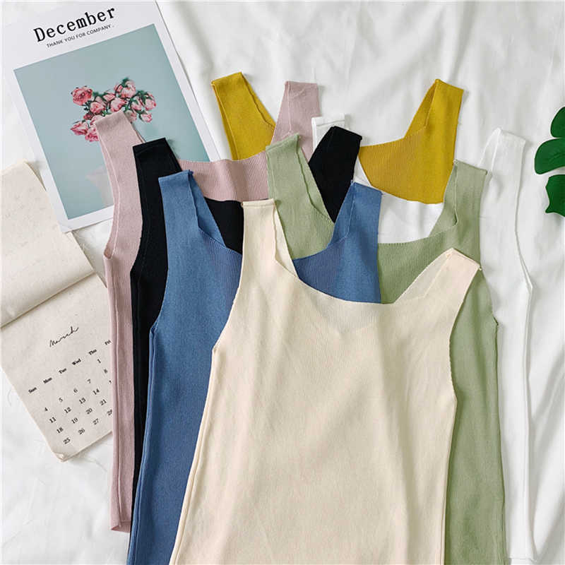 Summer Korea Women Knitted Sleeveless Slim Camisole Tank Top Vest Blouse T Shirt