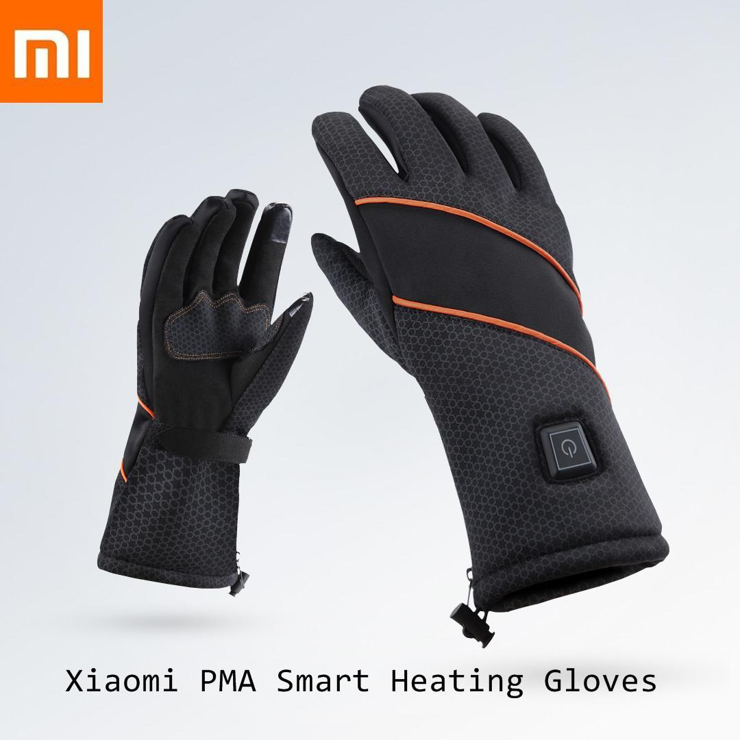 Xiaomi PMA Smart Heating Gloves Black Removable Battery Xiomi Smart Fever Glove Windproof Waterproof Fingertip Touch Screen Safe