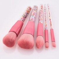Горячая Распродажа 5 шт. набор кистей для макияжа Тени для век набор кистей для макияжа цветные пироженые ручки розовые волосы