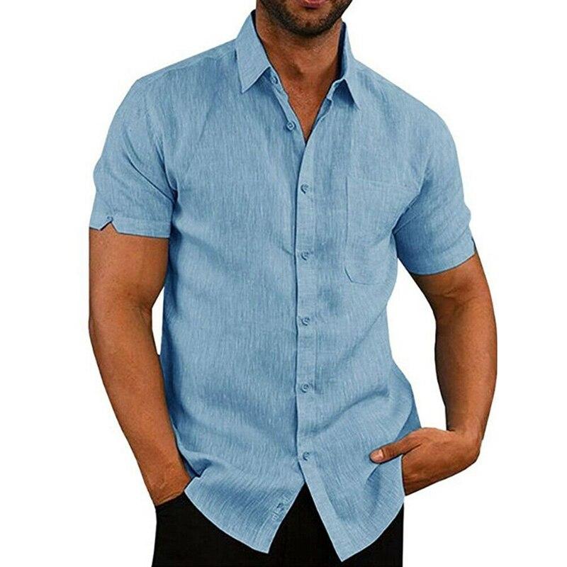 Men Solid Linen Cotton Short Sleeve Shirt Tops Summer