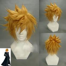 Kingdom Hearts Cosplay Anime ROXAS Sora Short Afro Pale Brown Heat Resistant Synthetic Hair