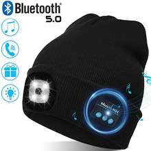 Warm Beanie Bluetooth 5.0 LED Hat Wireless Stereo Headset Music Player with MIC for Handsfree