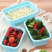 Hot 4pcs Collapsible Containers Silicone Food Storage Microwave Fridge Lunch Box PLD