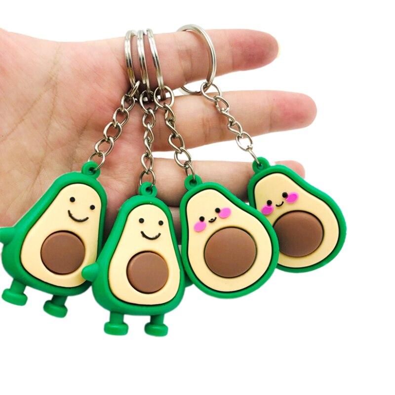Simulation Fruit Avocado Shaped Keychain Keyring 3D Soft Avocado Key Chains Fashion Jewelry Party Gift 2 Styles