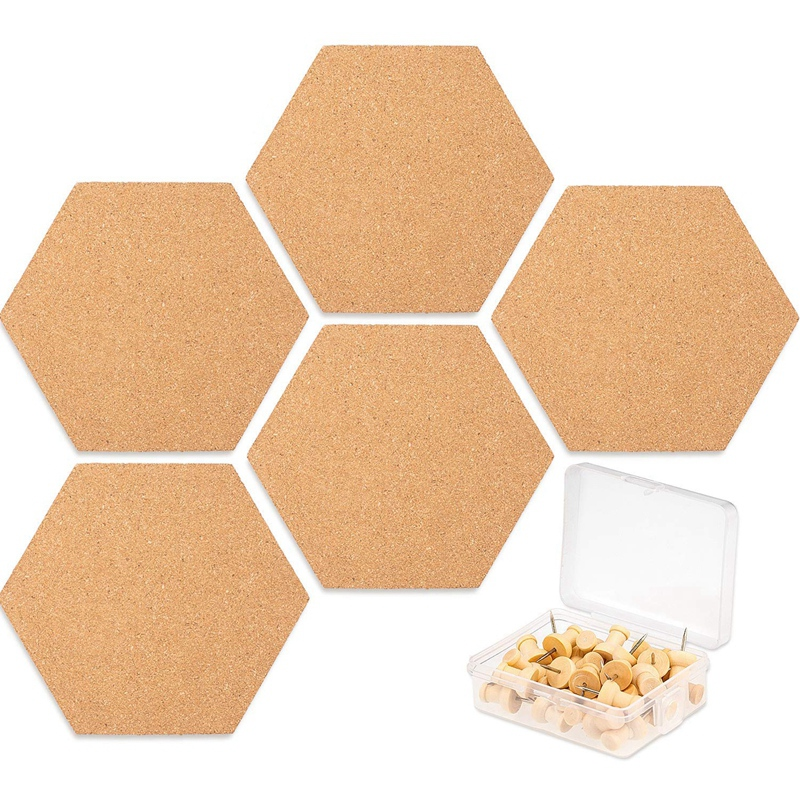 5 Pack Hexagon Cork Board Tiles With Full Sticky Back,Mini Pin Board With 40x Push Pins For Pictures, Photos, Drawing