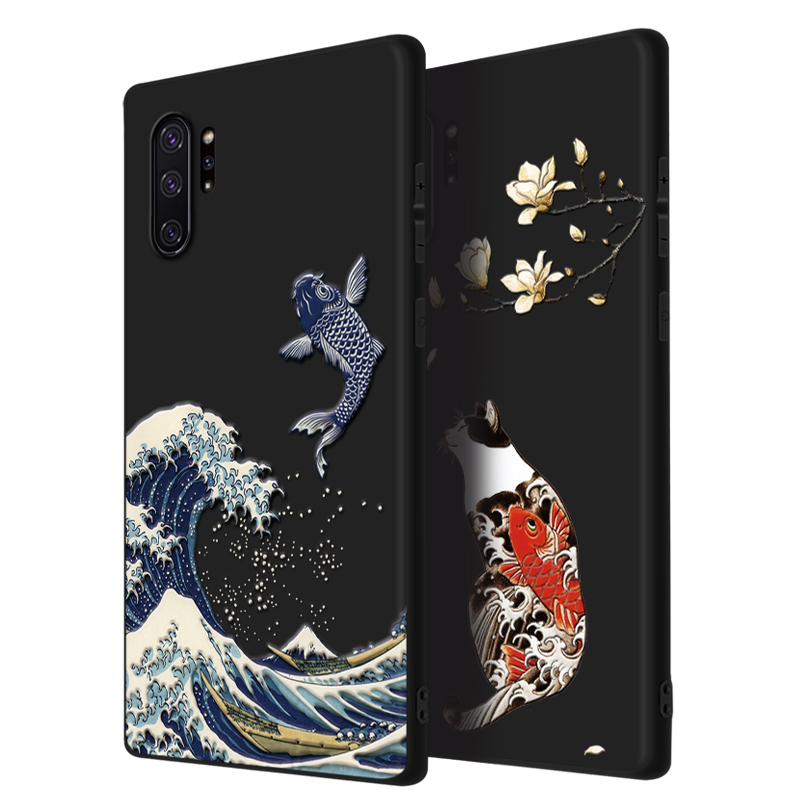 Image 4 - Great Emboss Phone case For Samsung galaxy Note 10 Plus note10+ cover Kanagawa Waves Carp Cranes 3D Giant relief case note 9 10Fitted Cases   -