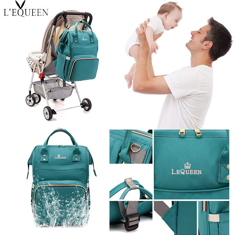 Lequeen Fashion Mommy Diaper Bag Large Capacity School Bag Multifunctional Travel Bag Baby Care Ladies Fashion Care Bag