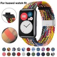 Nova pulseira para huawei relógio ajuste banda trançado de náilon tecido pulseira de substituição ajustável para huawei pulseiras de ajuste de relógio