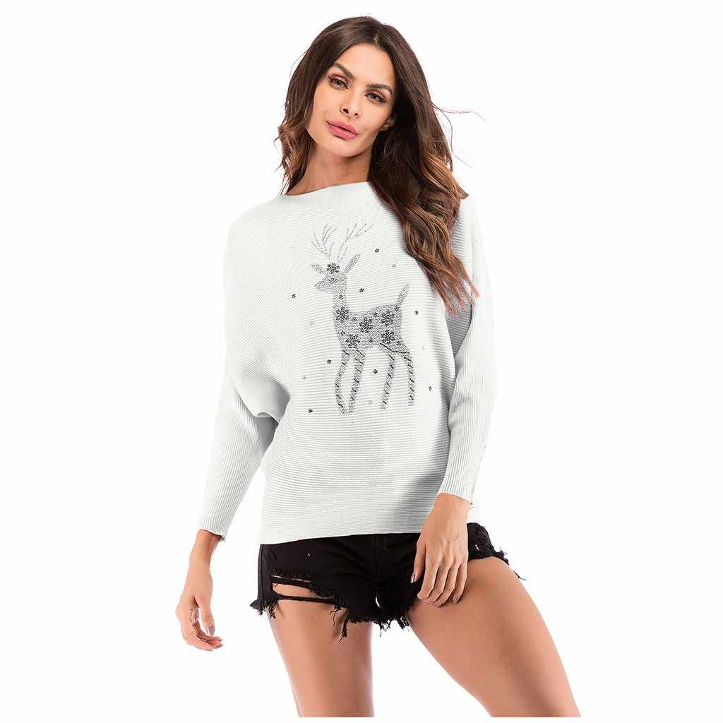 Christmas Women 2019 Sweaters Autumn Winter Casual Cartoon Elk snowflake Long Sleeve Pullover sweet Sweater O-Neck Pull Femme