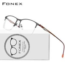 Fonex Legering Glazen Mannen Vierkante Recept Brillen Frame Semi Randloze Bijziendheid Monturen Koreaanse Schroefloos Eyewear 8836