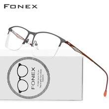 Gafas cuadradas de aleación FONEX para hombre, montura de gafas de prescripción semisin marco para miopía, monturas ópticas coreanas sin tornillos, gafas 8836