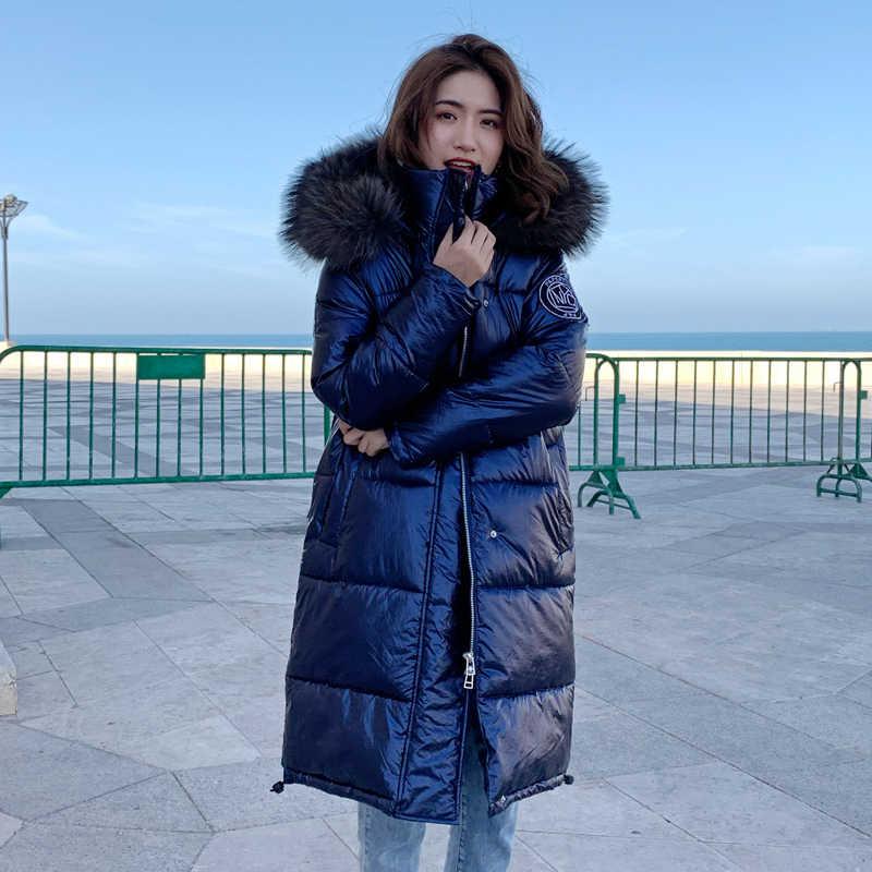 สูงใหม่คุณภาพสูง 2019 เสื้อแจ็คเก็ตสตรีฤดูหนาว WARM Thicken Hooded FUR ยาว Coat Shining ผ้าสไตล์หญิง Parka