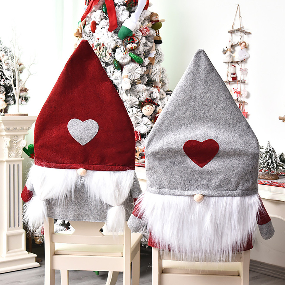 Christmas Decoration Chair Covers Santa Claus Dining Chair Back Caps Party Decor