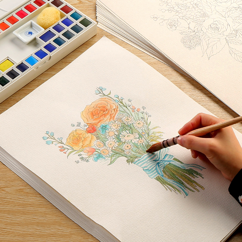 Bgln Watercolor Line Drawing Paper Hand-painted Flower Beginner Children Copy Color Painting Art Supplies