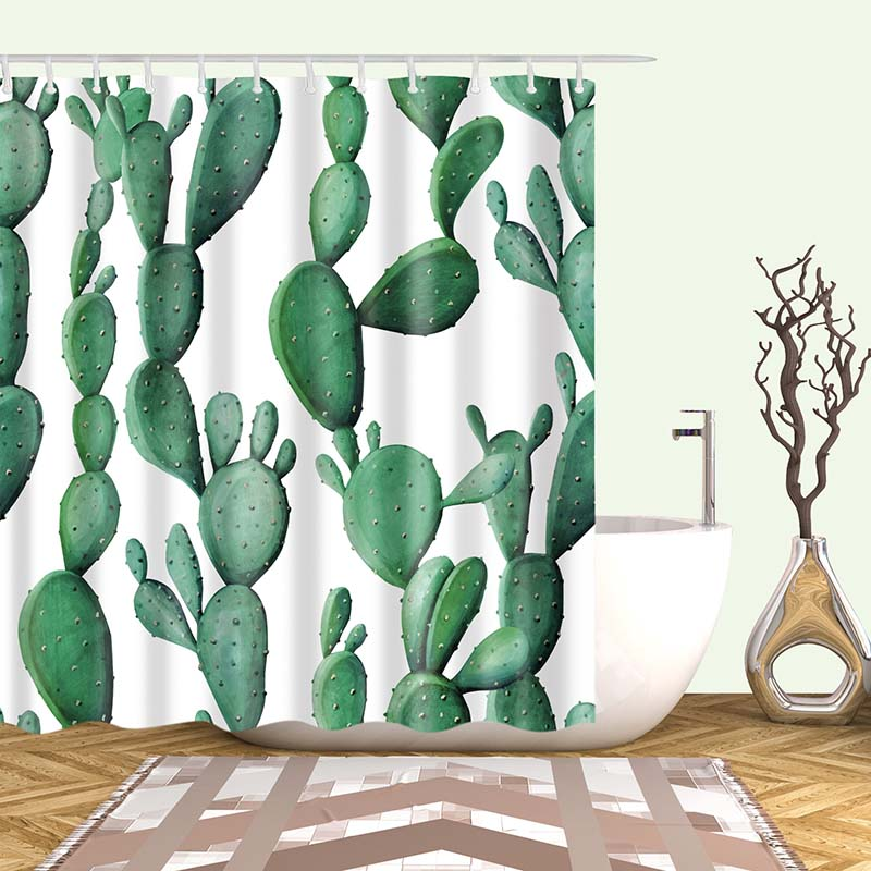 Тропический кактус, занавеска для душа, полиэфирная ткань, занавеска для ванной комнаты, украшения для ванной комнаты, мульти-размер, занавеска для душа с принтом s
