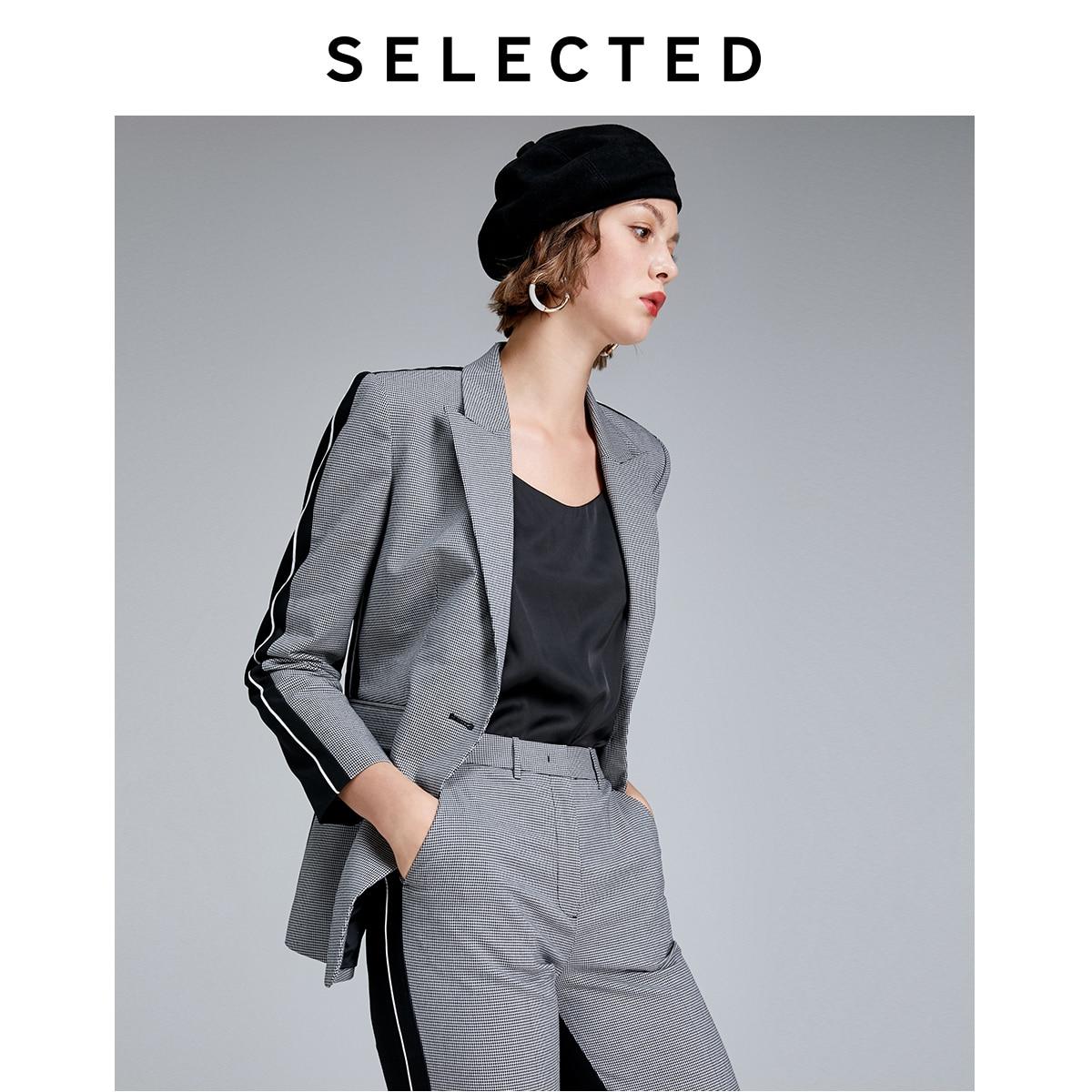 SELECTED Women's Cotton Retro Black & White Plaid Splice Blazer S|419372505