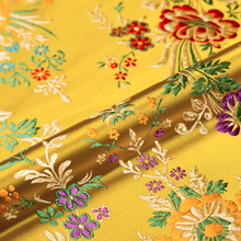 Flower satin fabrics brocade jacquard pattern dress fabric red for sewing cheongsam and kimono material for DIY